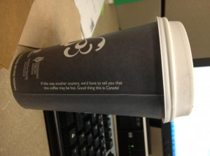Canadian coffee cup warning