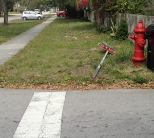 Downed stop sign