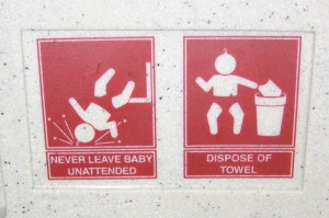 Diaper station pictorial warning