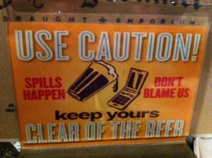 beer spill warning